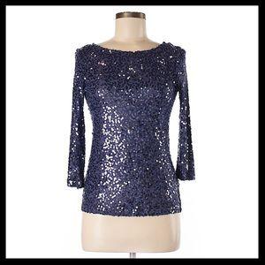 calvin klein // sequin 3/4 sleeve top in purple